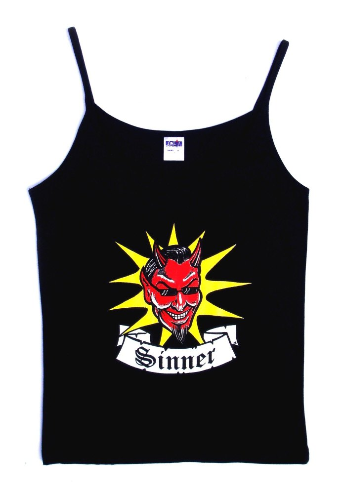 Rock N Roll Suicide Devil Sinner Black Strappy Top