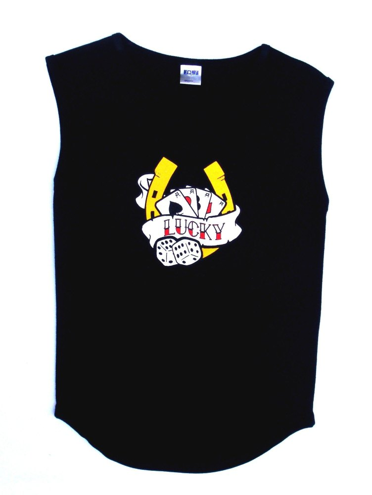 Rock N Roll Suicide Lucky Horseshoe Black Sleeveless Top