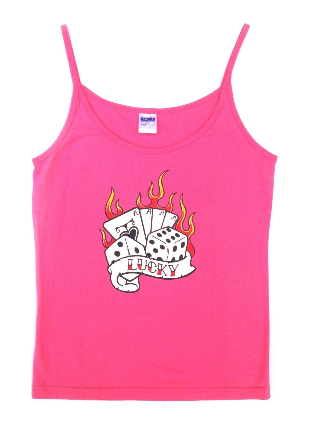 Rock N Roll Suicide Lucky Dice Pink Strappy Top Small