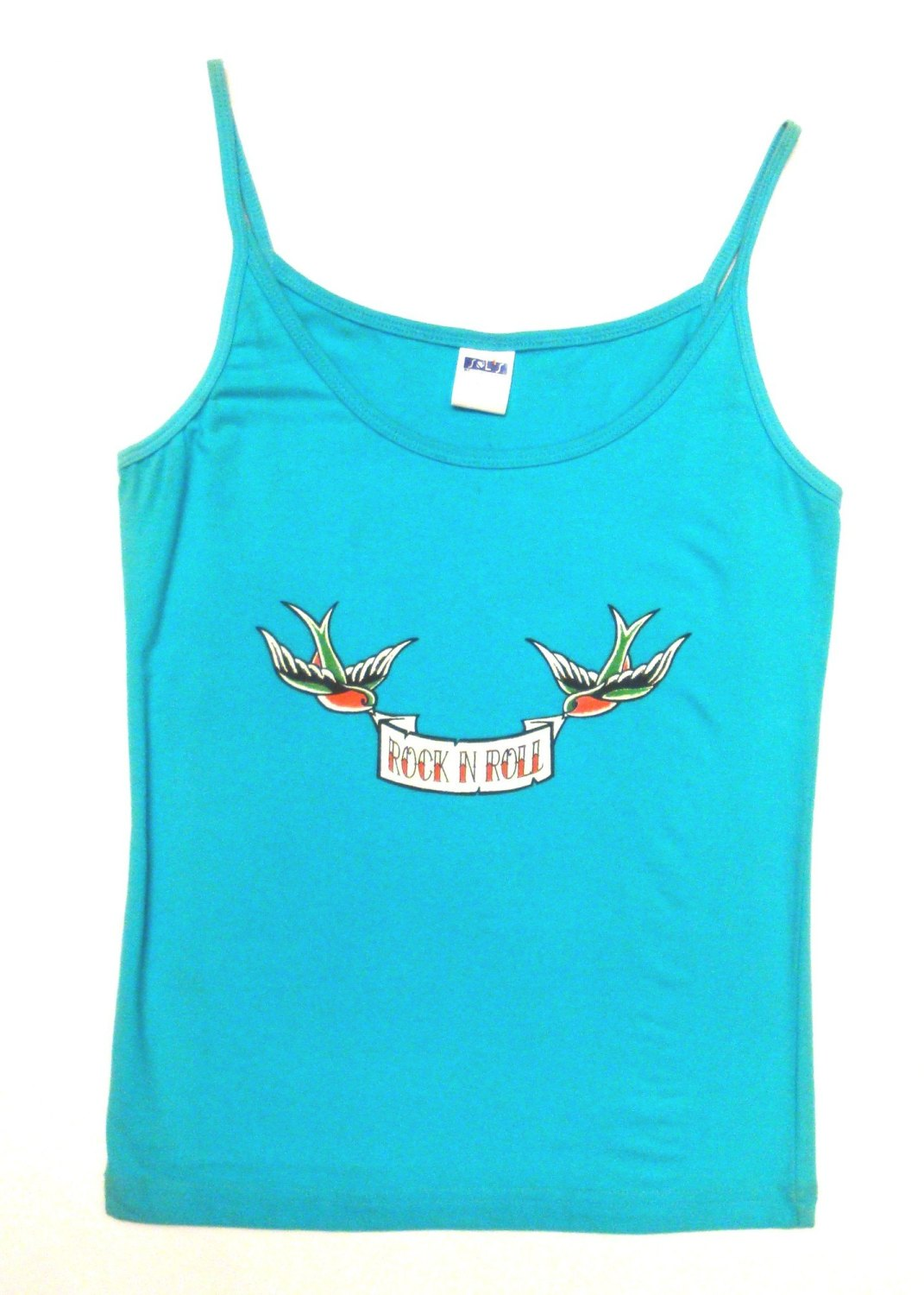 Rock N Roll Suicide Rock N Roll Swallows Turquoise Strappy Top Small