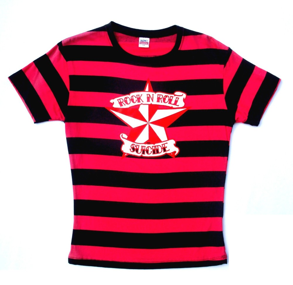 Rock N Roll Suicide Nautical Star Black And Fuschia Striped Lady Fit Tshirt