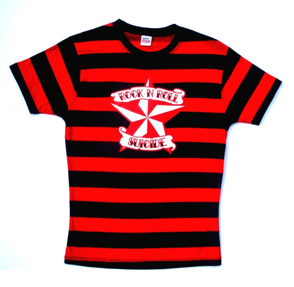 Rock N Roll Suicide Nautical Star Black And Red Striped Lady Fit Tshirt