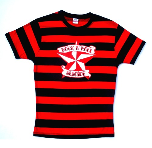 Rock N Roll Suicide Nautical Star Black And Red Striped Lady Fit Tshirt Sma