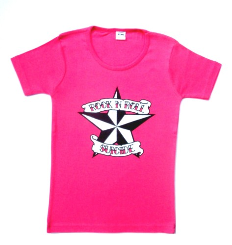 Rock N Roll Suicide Nautical Star Pink Lady Fit Tshirt Small