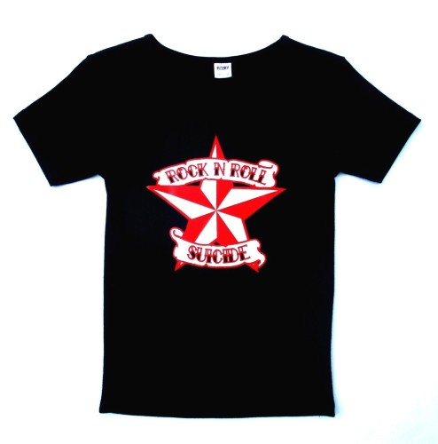 Rock N Roll Suicide Nautical Star Black Lady Fit Tshirt Small