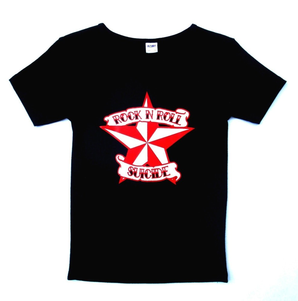 Rock N Roll Suicide Nautical Star Black Lady Fit Tshirt