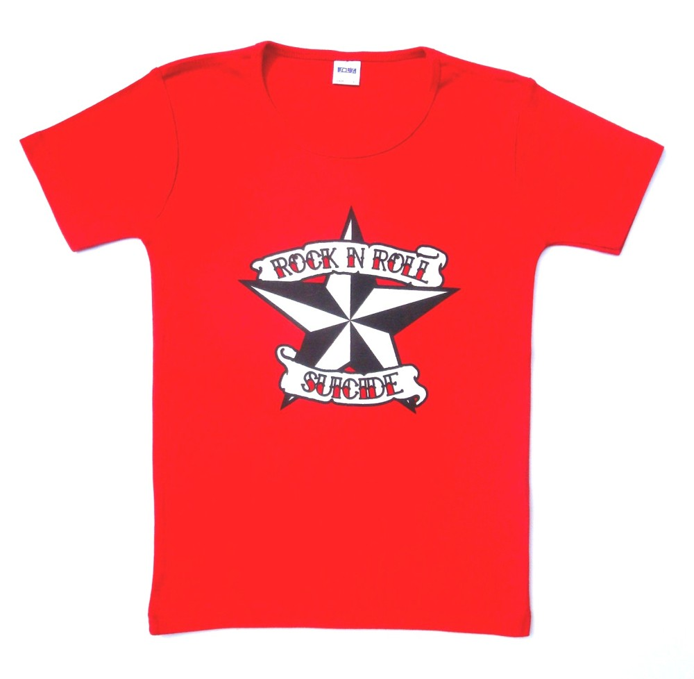 Rock N Roll Suicide Nautical Star Red Lady Fit Tshirt