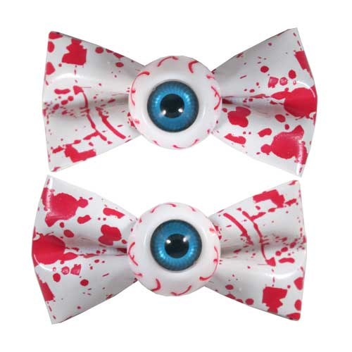 Kreepsville 666 Eyball Bow Red And White Blood Splattered Hair Slides