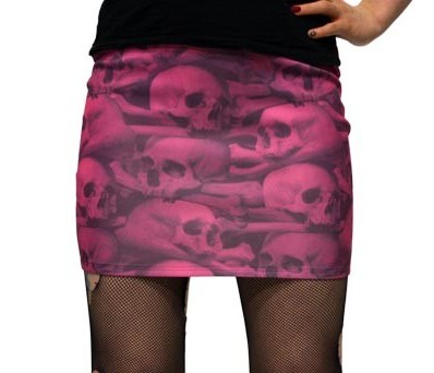 Kreepsville 666 Skull Pile Pink Mini Skirt Small
