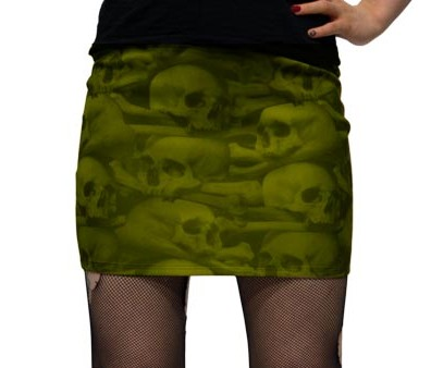 Kreepsville 666 Skull Pile Natural Mini Skirt Small