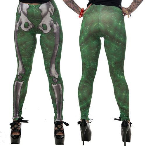 Kreepsville 666 Green Slime Skele Bone Leggings Large