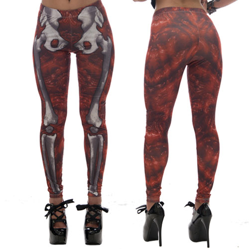 Kreepsville 666 Red Gore Skele Bone Leggings Large