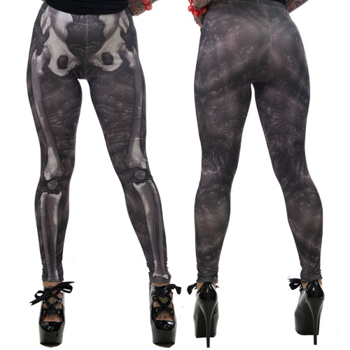 Kreepsville 666 Black Death Skele Bone Leggings Small