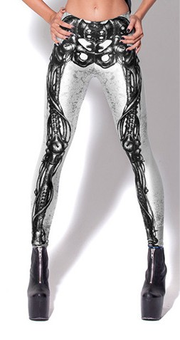 Mechanical Skeleton Black On White Leggings Small To Medium