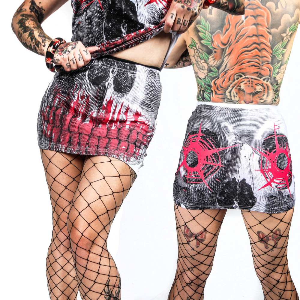 Kreespville 666 Skull Shot Mini Skirt