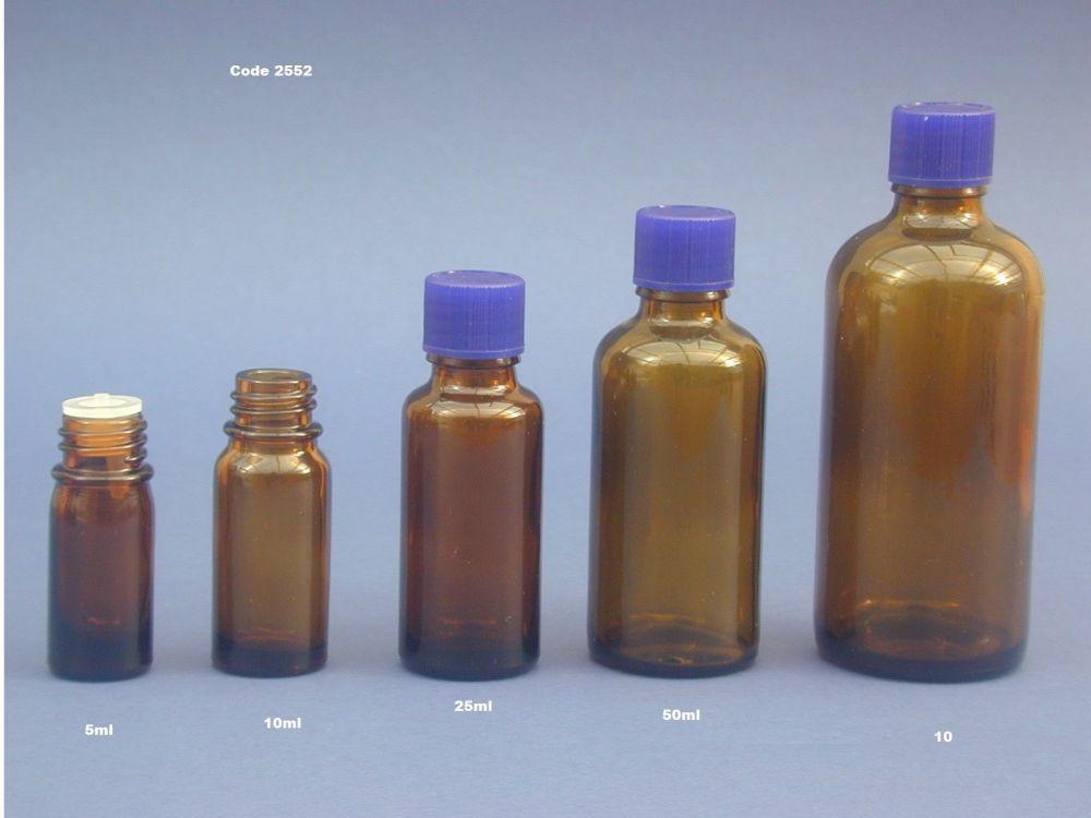 Amber Glass Bottle, Insert & Blue Closure 5ml