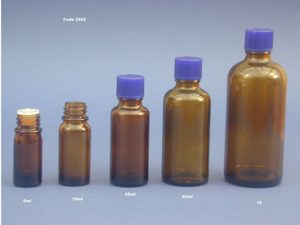 Amber Glass Bottle, Insert & Blue Closure 25ml