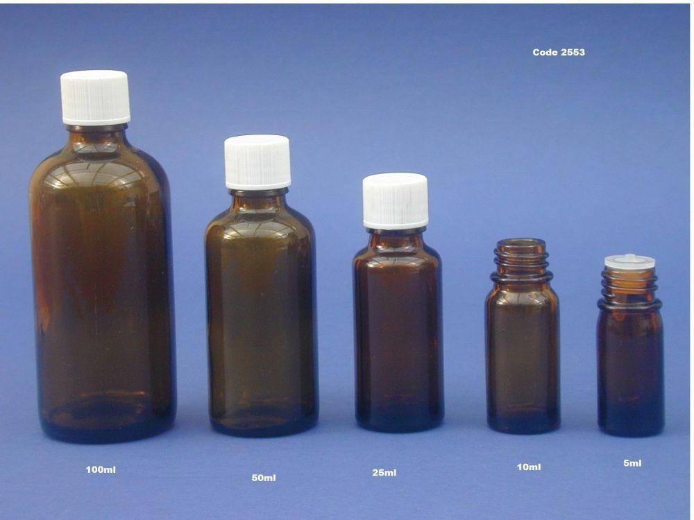 Amber Glass Bottle, Insert & White Closure