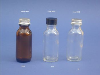 Amber Glass Winchester Bottle & Metalise Closure 30ml (2557)