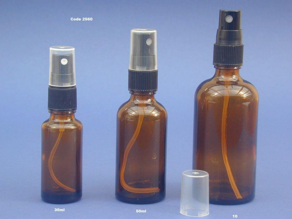 Amber Glass Bottle & Black Finger Spray