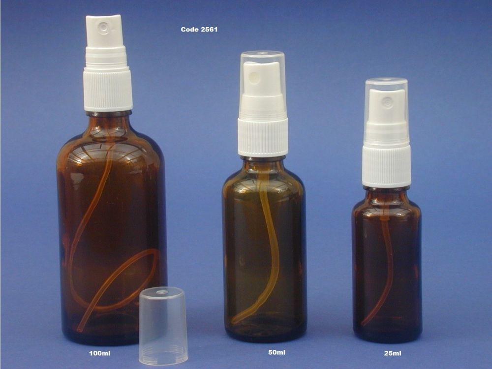 Amber Glass Bottle & White Finger Spray 50ml