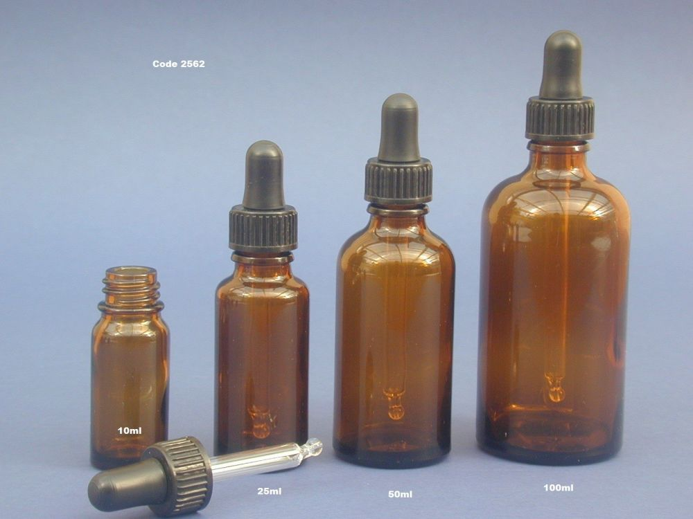 Amber Glass Bottle & Pipette (Glass with Rubber Dome) 50ml