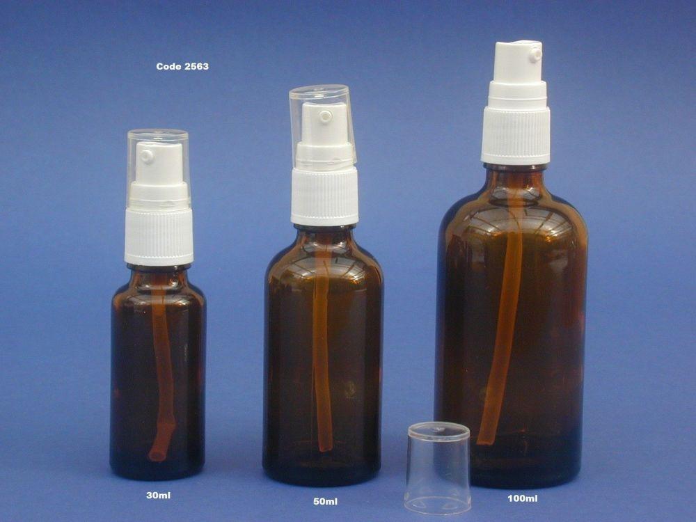 Amber Glass Bottle/White Lotion Pump 25ml