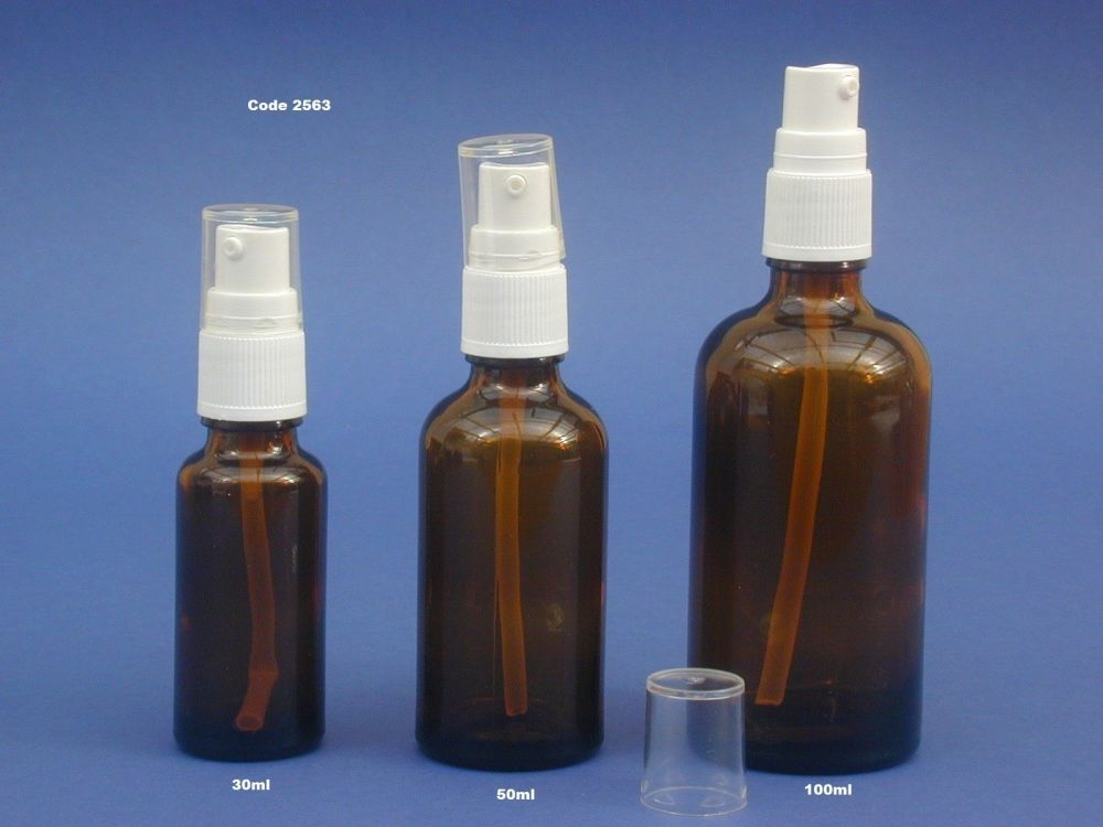 Amber Glass Bottle/White Lotion Pump 50ml