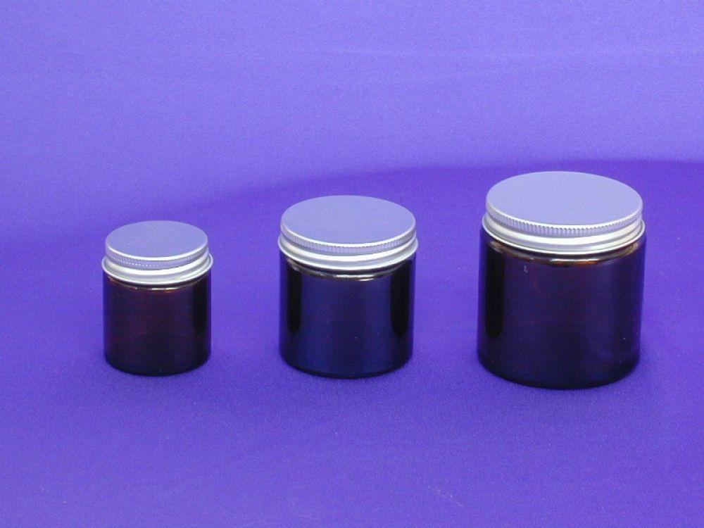 Amber Glass Jar & Metalise Closure 120ml