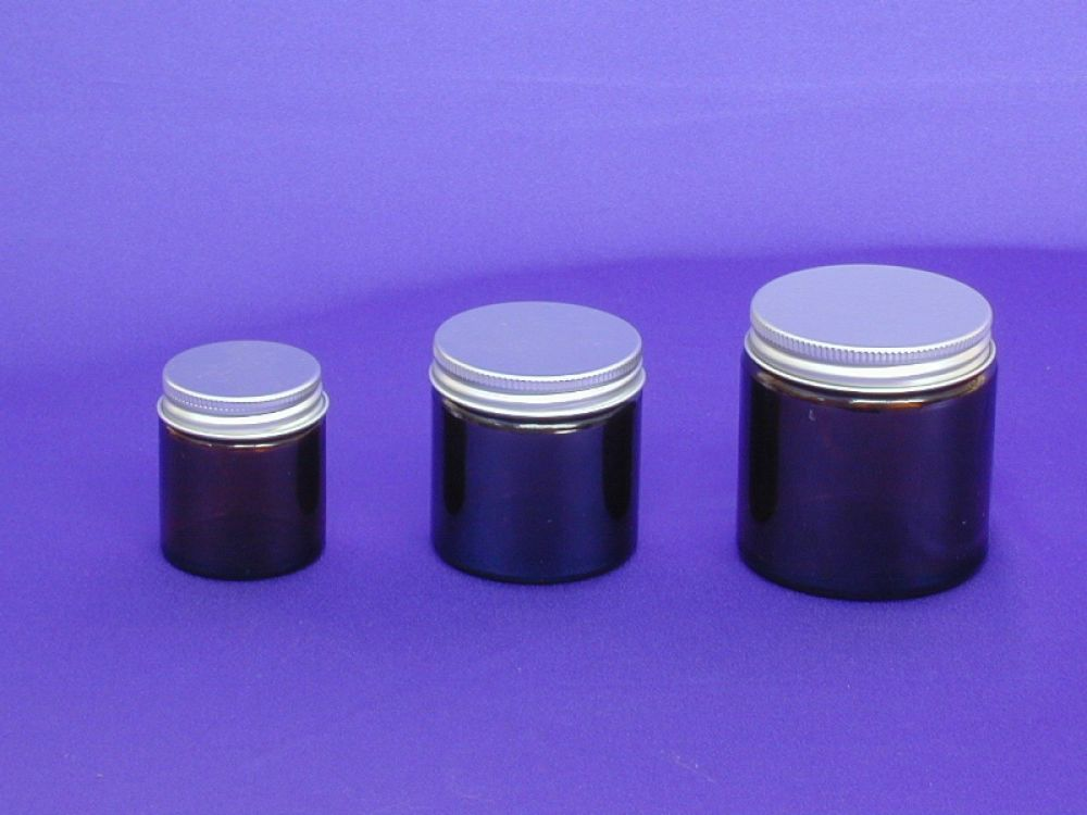 Amber glass jars30ml-60ml-120ml metalise cap