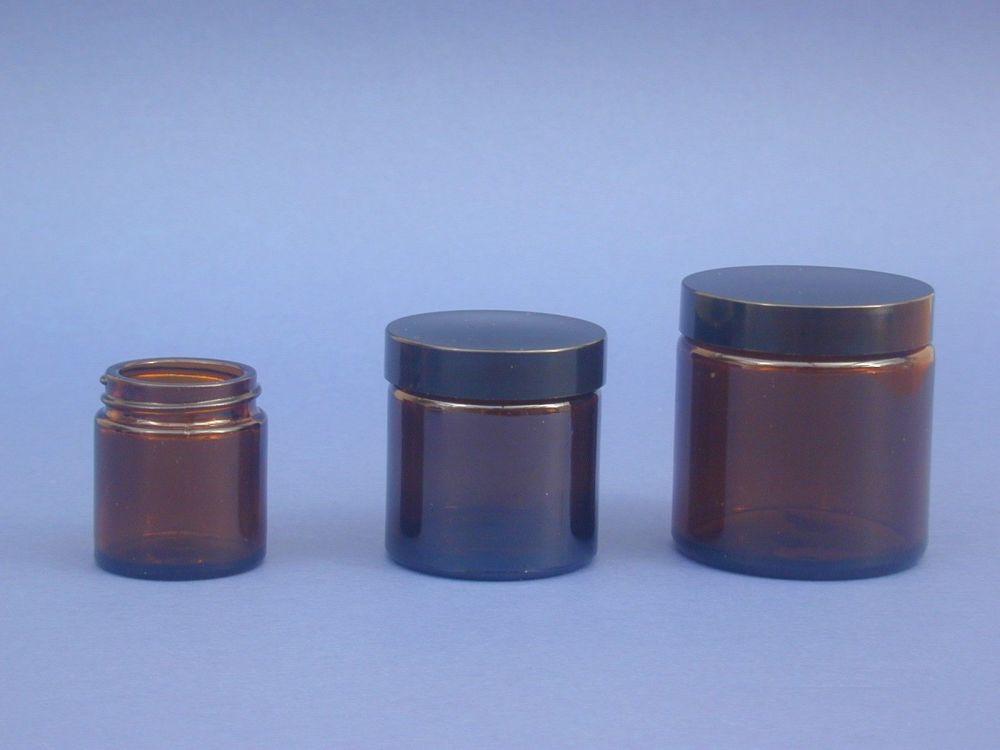 Amber Glass Jar & Black Closure 120ml