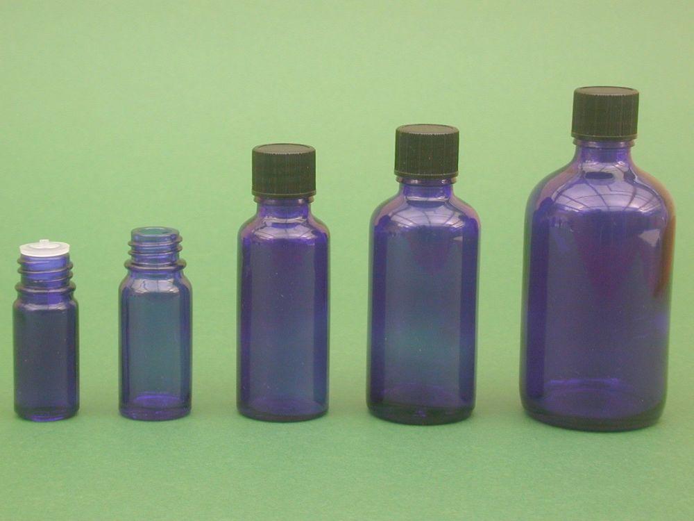 Blue Glass Bottle, Insert & Black Closure 30ml