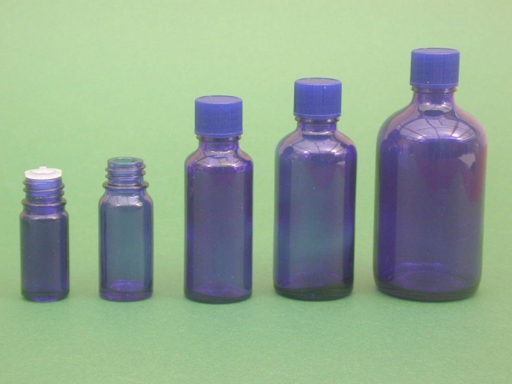 Blue Glass Bottle, Insert & Blue Closure 50ml