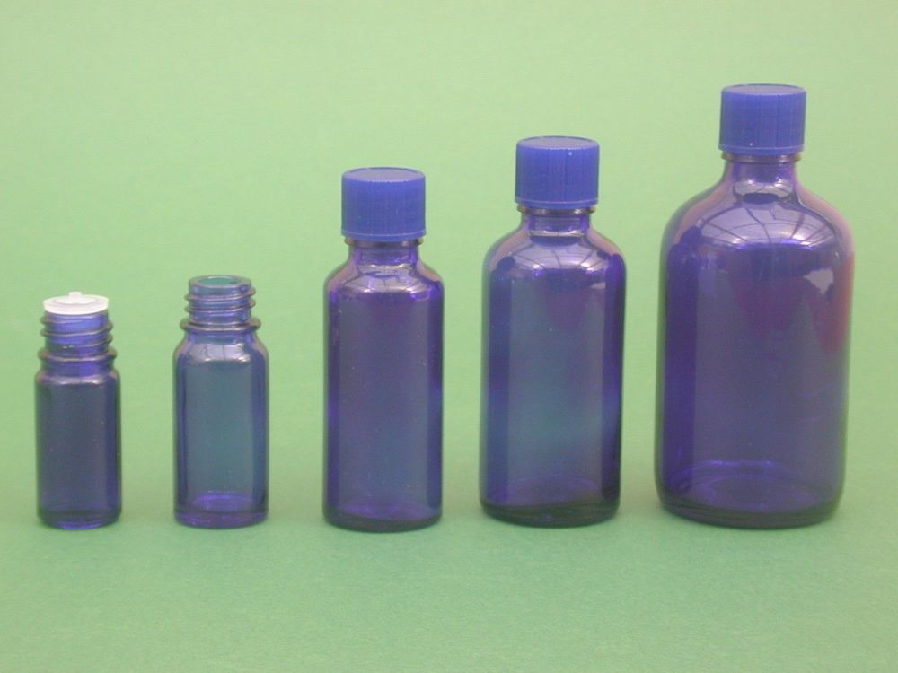 Blue Glass Bottle, Insert & Blue Closure 100ml