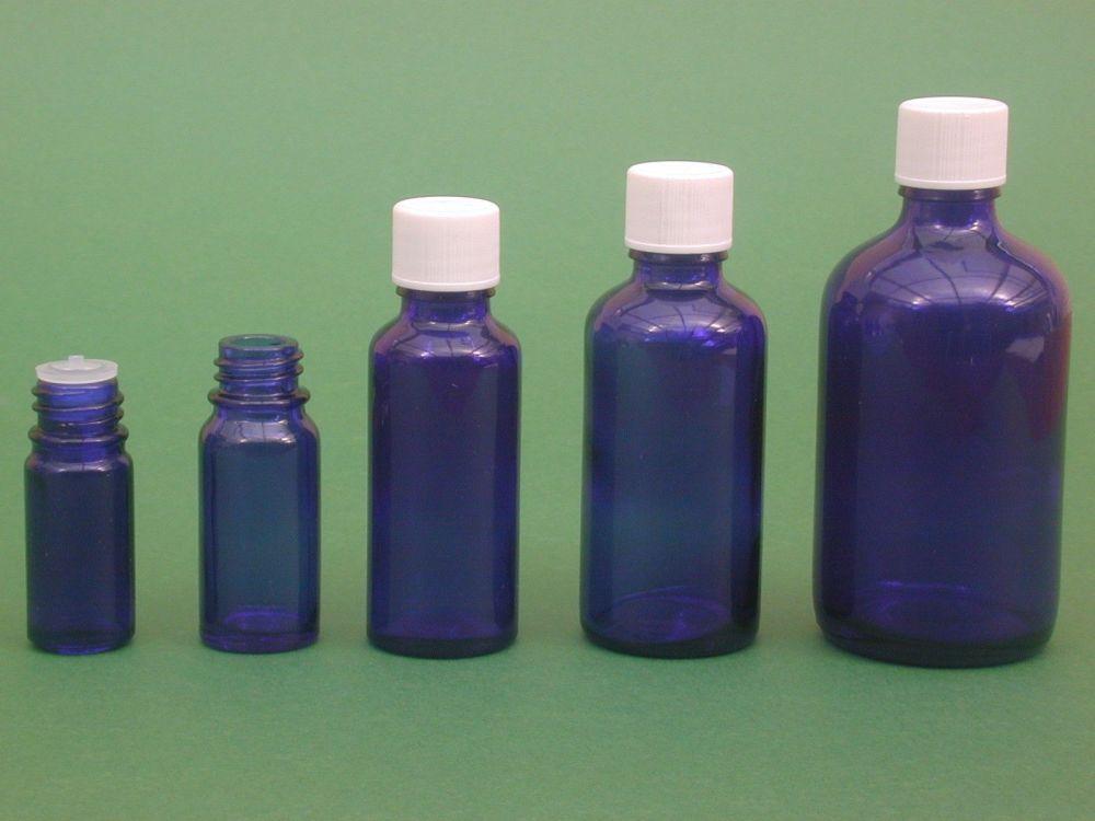 Blue Glass Bottle, Insert & White Closure 50ml