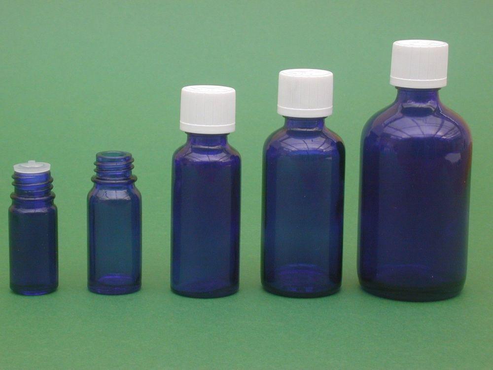 Blue Glass Bottle, Insert & White Child Resistance Closure 50ml