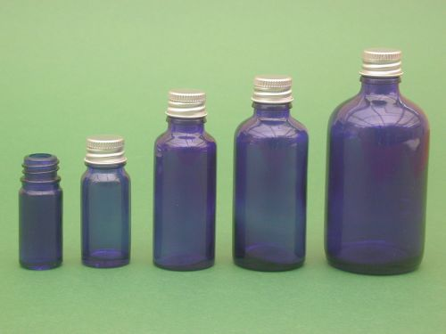 Blue Glass Bottle, with  Metalise Closure 5ml