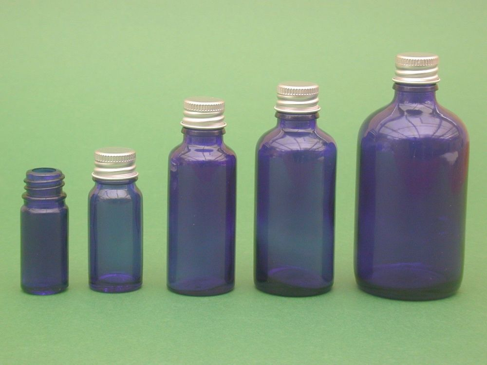 Blue Glass Bottle, with Metalise Closure 50ml