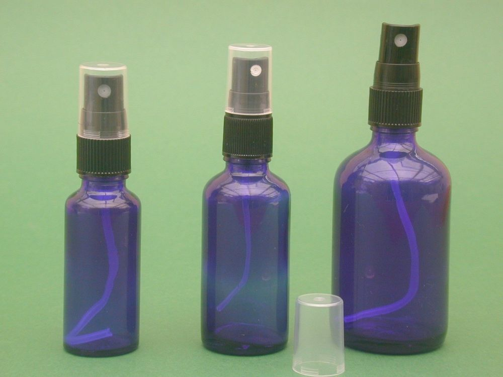 Blue glass bottle black finger spray