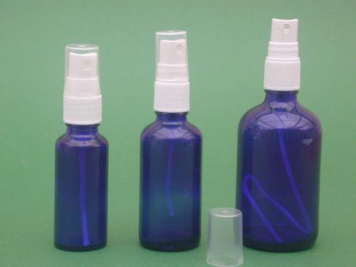 Blue Glass Bottle & White Finger Spray 50ml
