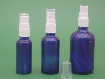 Blue Glass Bottle & White Finger Spray 100ml (2574)