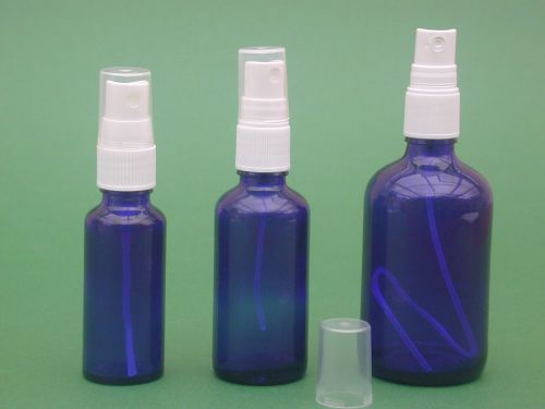 Blue Glass Bottle & White Finger Spray 100ml