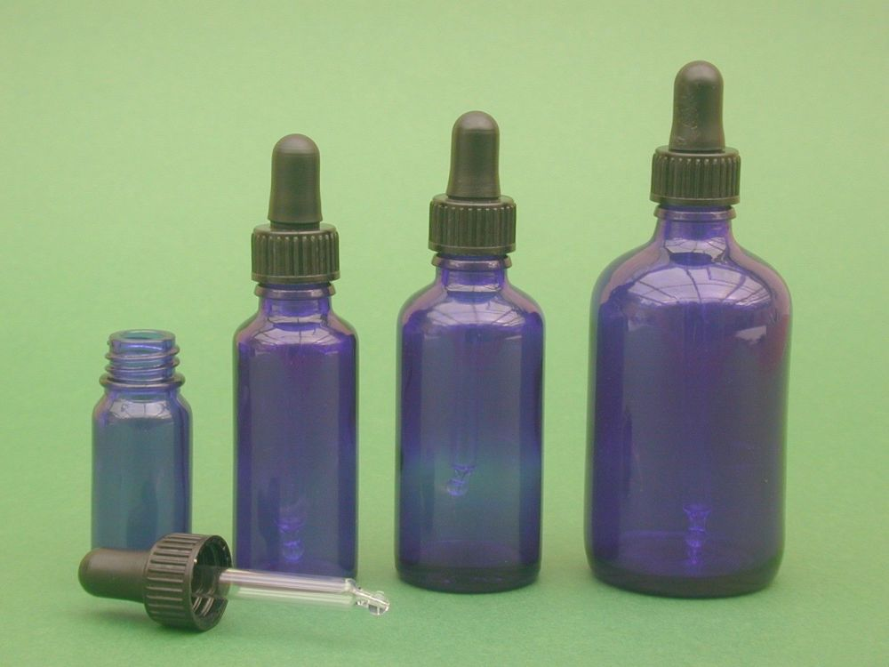 Blue Glass Bottle & Pipette (Glass with Rubber Dome)