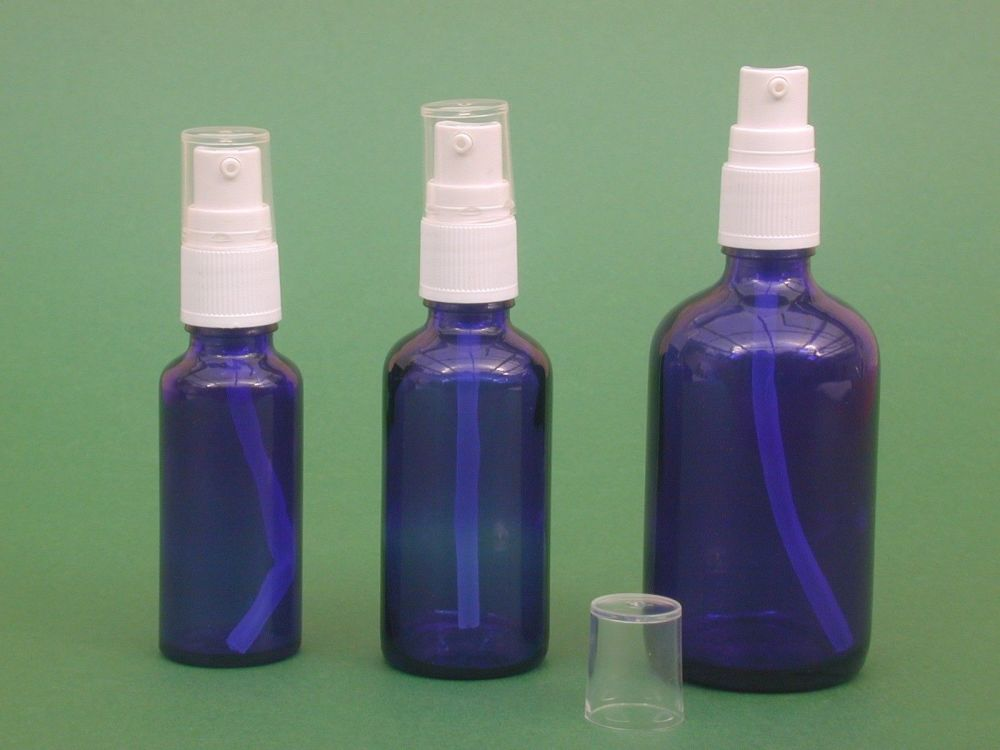 Blue glass bottle white lotion pump