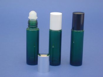 Green Glass Bottle, Rollette & White Closure 10ml (2607)