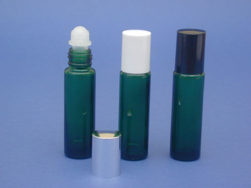 Green Glass Bottle, Rollette & Closure 10ml