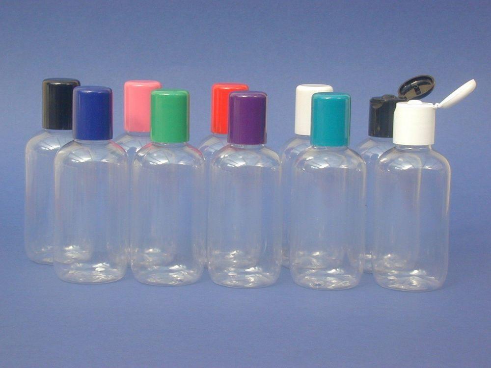 Clear Boston Round Plastic Bottle & Blue Radius Closure 100ml