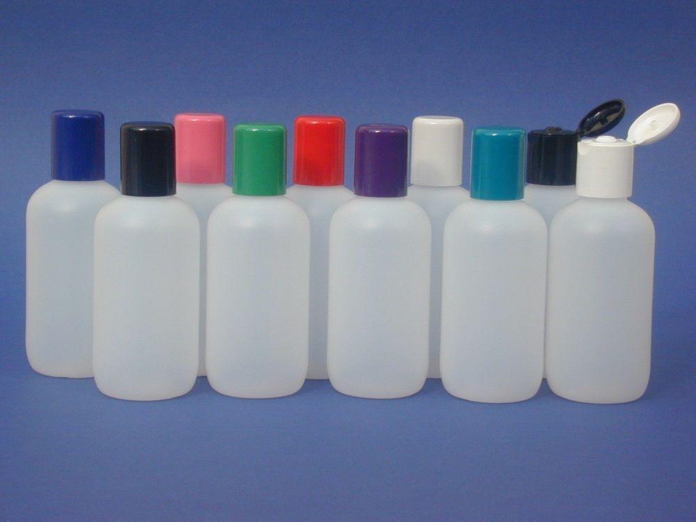 Natural Boston Round Plastic Bottle & Black Flip Top Closure 100ml