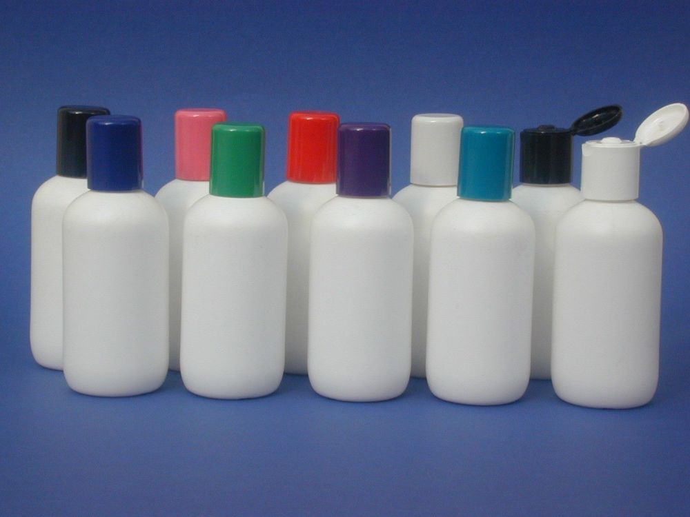 White Boston Round Plastic Bottle & Blue Radius Closure 100ml