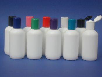 White Boston Round Plastic Bottle & Blue Radius Closure 100ml (2717)